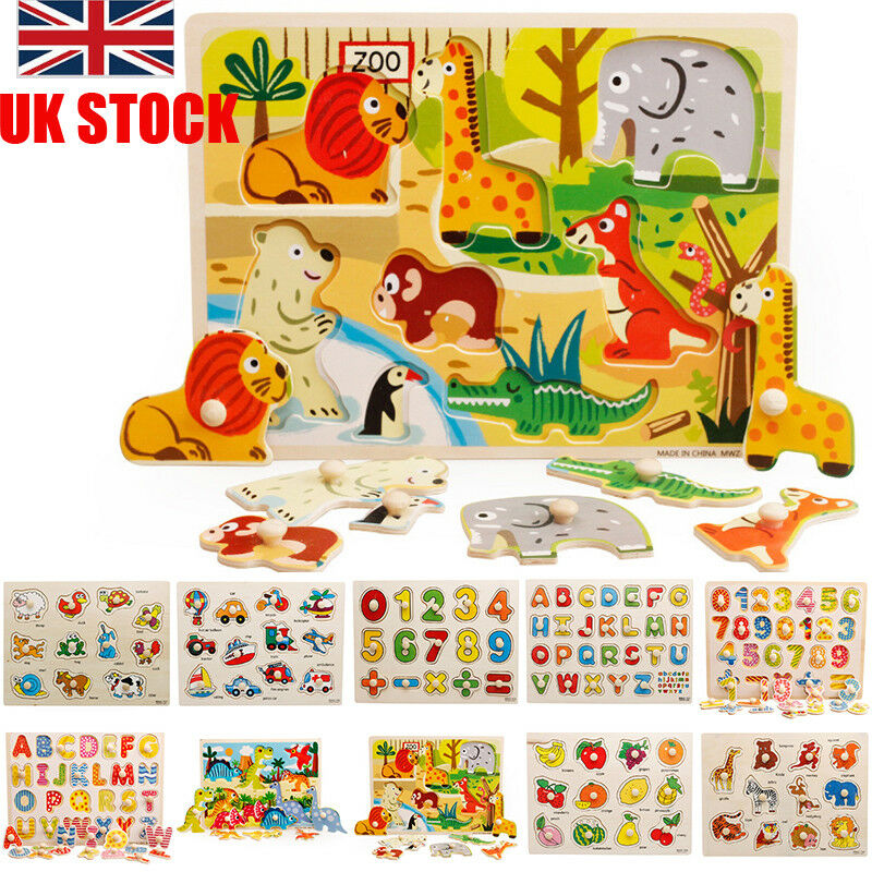 Wooden Animal Letter Puzzle Jigsaw Early Learning Baby Kids Educational Toys UK 2