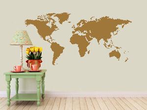 Detailed world map decal vinyl wall sticker ebay image is loading detailed world map decal vinyl wall sticker gumiabroncs Choice Image