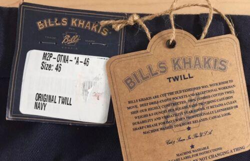 BRAND NEW-Bills khakis M2P-OTNA Size 46 NAVY ORIGINAL TWILL PLEATED $165