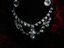 Antique 12k White GF Victorian Crystal Festoon Choker Lavaliere & Earrings 1920