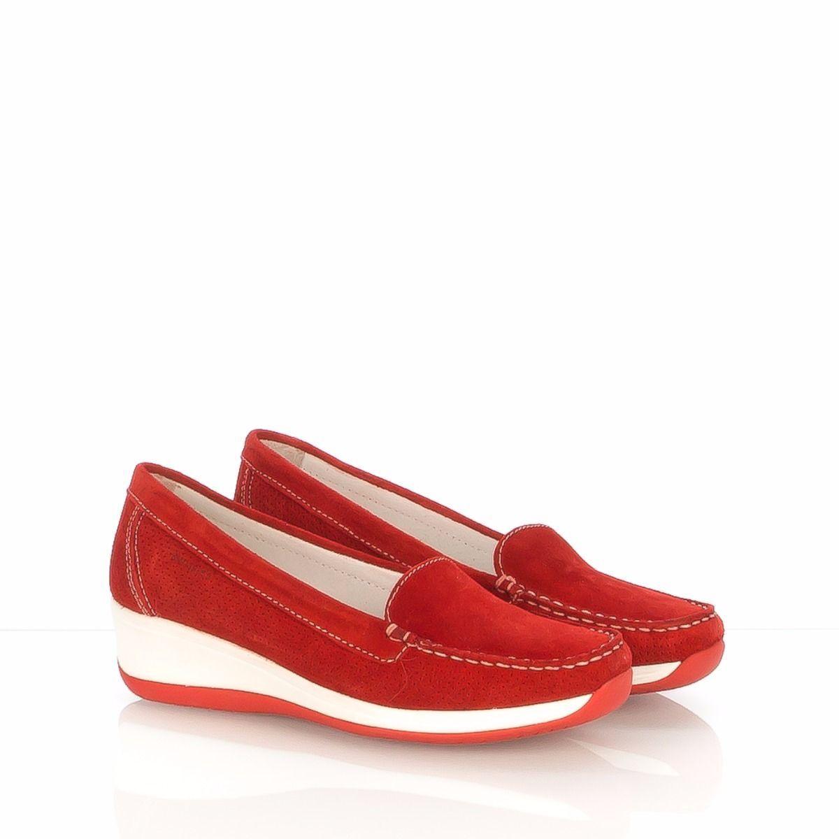 SWISSIES JESSICA II mocassino donna camoscio rosso rosso rosso taupe ammortizzato fdd9b1