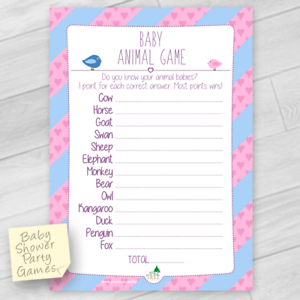 Baby Shower Game Name The Baby Animal 10 Players Ebay