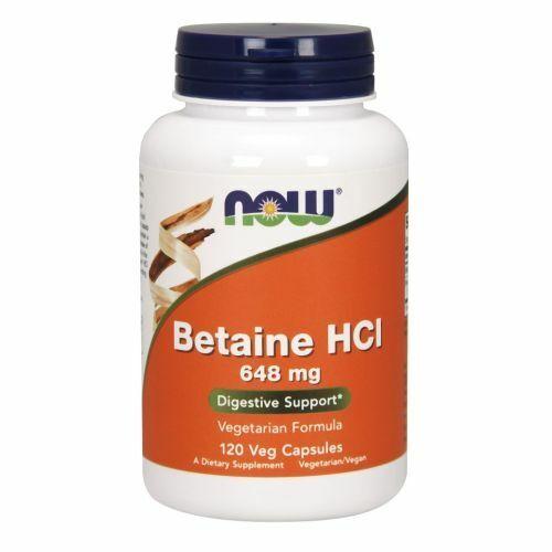 Betaína Hcl 120 Tapas 648MG por Now Foods