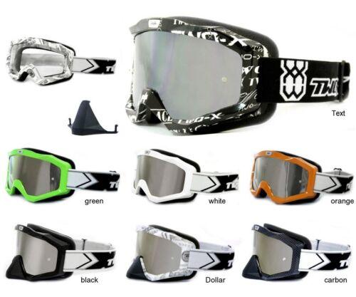TWO-X Evo V2 Crossbrille MXCross Enduro Brille Motocross silber verspiegelt