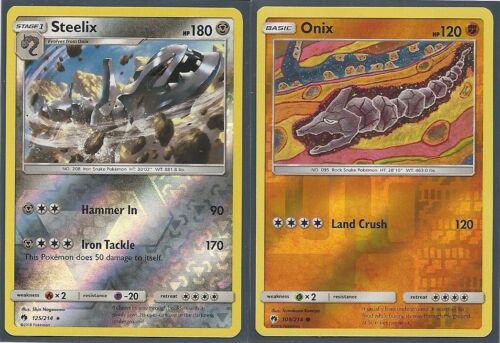 Pokemon RARE STEELIX 125//214 /& ONIX 109//214-2 EVO Set-REV HOLO LOST THUNDER