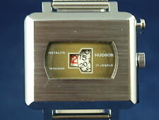 Vintage Hudson Instalite Gents Jump Hour Swiss Watch 70s New Old Stock, Serviced
