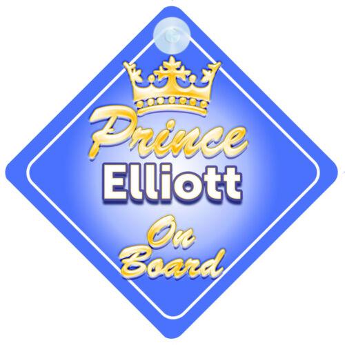 Crown Prince Elliott On Board Personalised Baby Boy Car Sign