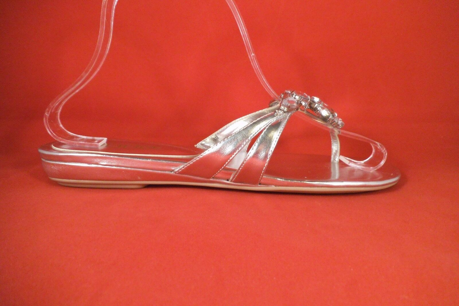 NEW MODA SANDALS PANA SILVER CLEAR CRYSTALS THONG FLIP FLOP SANDALS MODA SIZE 9 MED 3786c5