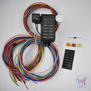 Fabulous 14 Circuit Universal Wire Harness 14 Fuse 12V Street Hot Rat Muscle Wiring Cloud Staixuggs Outletorg
