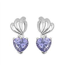 Heart Tanzanite Cz Dangle .925 Sterling Silver Earrings