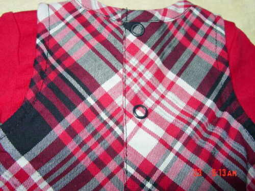NWT InFant Girls 2 pc Outfit Jumper Dress Creeper Red Black Plaid New Unused