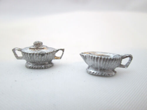 Dollhouse Miniature Unfinished Metal Sugar /& creamer #3
