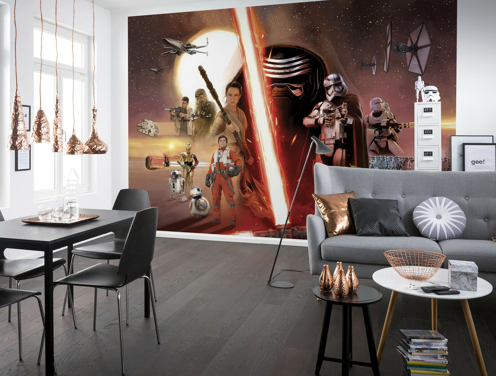Giant paper wallpaper 368x254cm Star Wars Collage wall mural for boys room rot