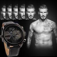 Montre Homme Gros Cadran-dual Time-affichage 2 Fuseaux Horaires-top Tendance