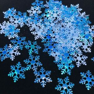 600-Pz-2cm-Blu-Bianco-Fiocco-di-Neve-Ornamenti-Albero-Natale-Festa-Arredo-Casa