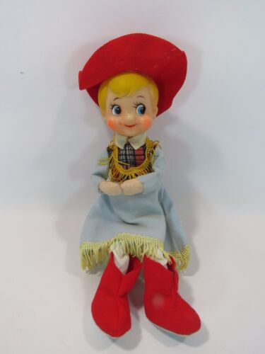 "1940'sVintage Cowgirl Doll Shelf 9"" Made in Japan Blonde Red Hat JH"