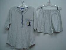 Nancy King Lingerie 2 Piece Pajama Shorts & Top Set Size L Grey w/ Purple #555N