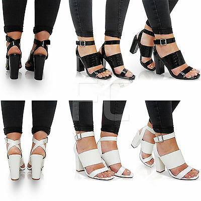NEW WOMENS LADIES HIGH HEEL BLOCK ANKLE STRAP BUCKLE PEEP TOE SHOES SANDALS SIZE