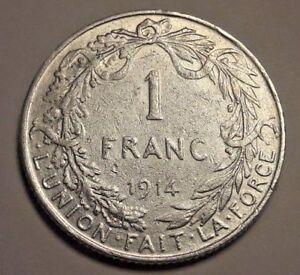 1-Franc-1-Frank-Albert-I-1910-gt-1914-FR-NL-Belgique-Belgie-Belgium-TTB
