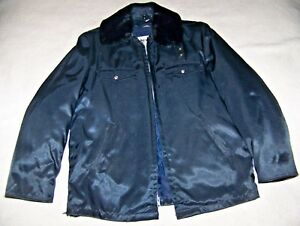 Blauer-Fire-Department-NYLON-Jacket-Vintage-Waterbury-FD-Silver-Buttons-CLEAN