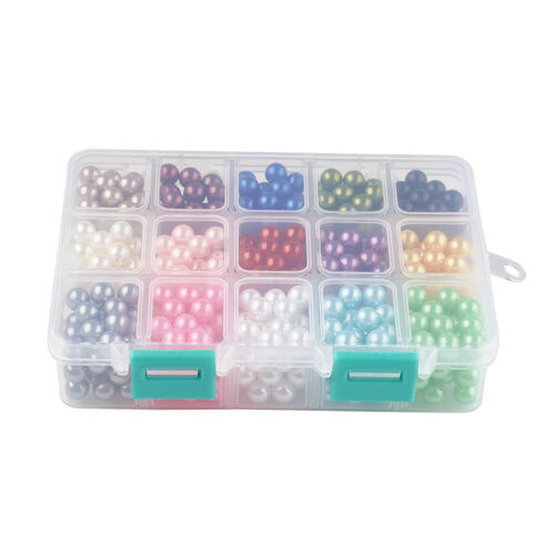 1Box ABS Plastic Imitation Pearl Beads No Hole Mixed Color 8//10 MM
