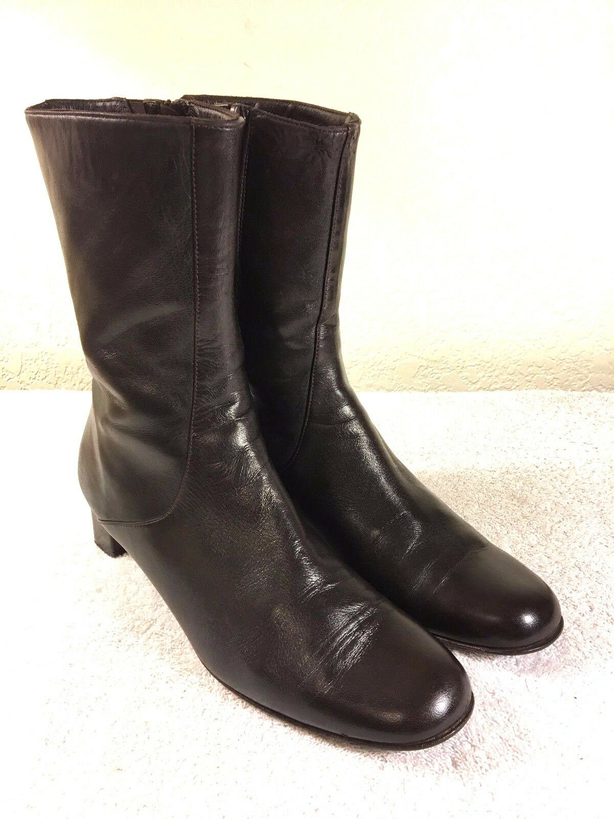 Cole Haan women's  brown leather leather zipper boots szie 8.5 AA Made in Italy