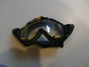 Skibrille-Crossbrille-Uvex-501-Supercross-gebraucht-klares-Glas-schwarz-Gold