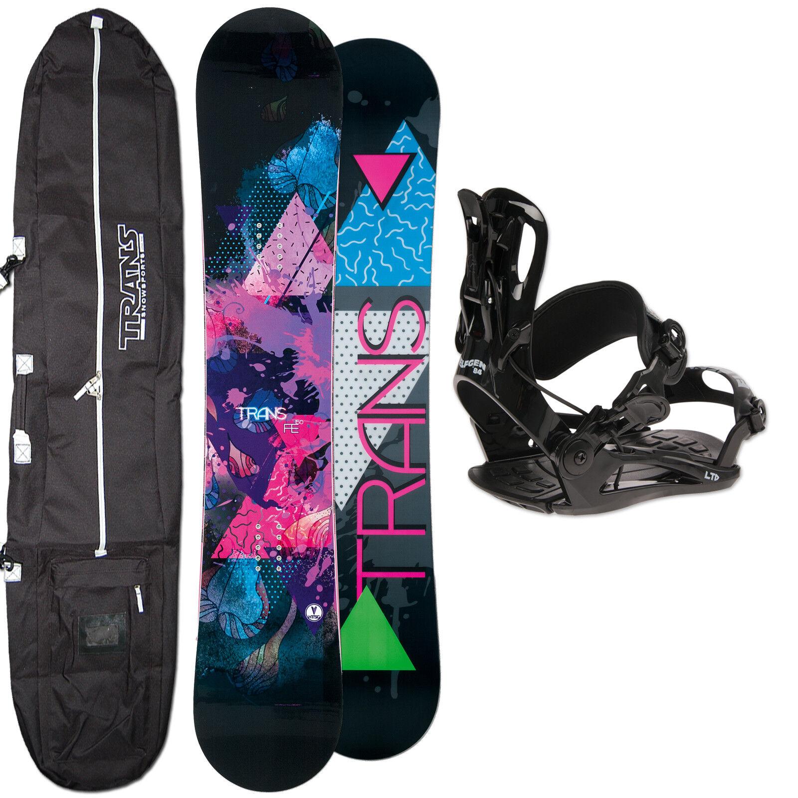 Snowboard Mujer Trans Fe Rocker 139cm + Fastec Fijación Talla S + Board Bag