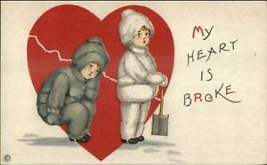 Valentine-Kids-amp-Snow-Shovel-MEP-Margaret-Evans-Price-Postcard