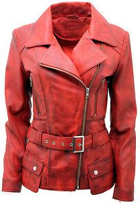 Sfortunatamente Incontro navigare  Da Donna Rosso Vintage Lungo Femminile Giacca di pelle da Motociclista |  eBay