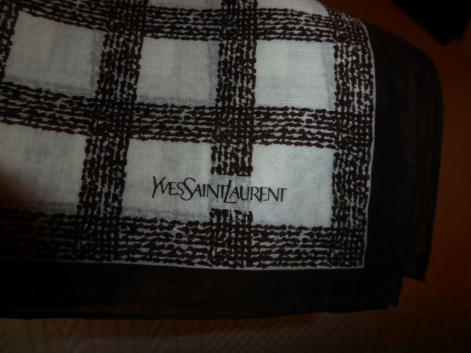 "YSL (2) Scarves Brown Plaid, Green Plaid, 18"" square Cotton, YSL Gift Box (S1"