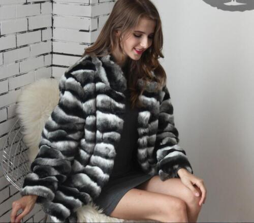 de fourrure Manteau Parka populaire Stripe d'hiver Jacket chaud Épaissir Outwear 764q4wTx5