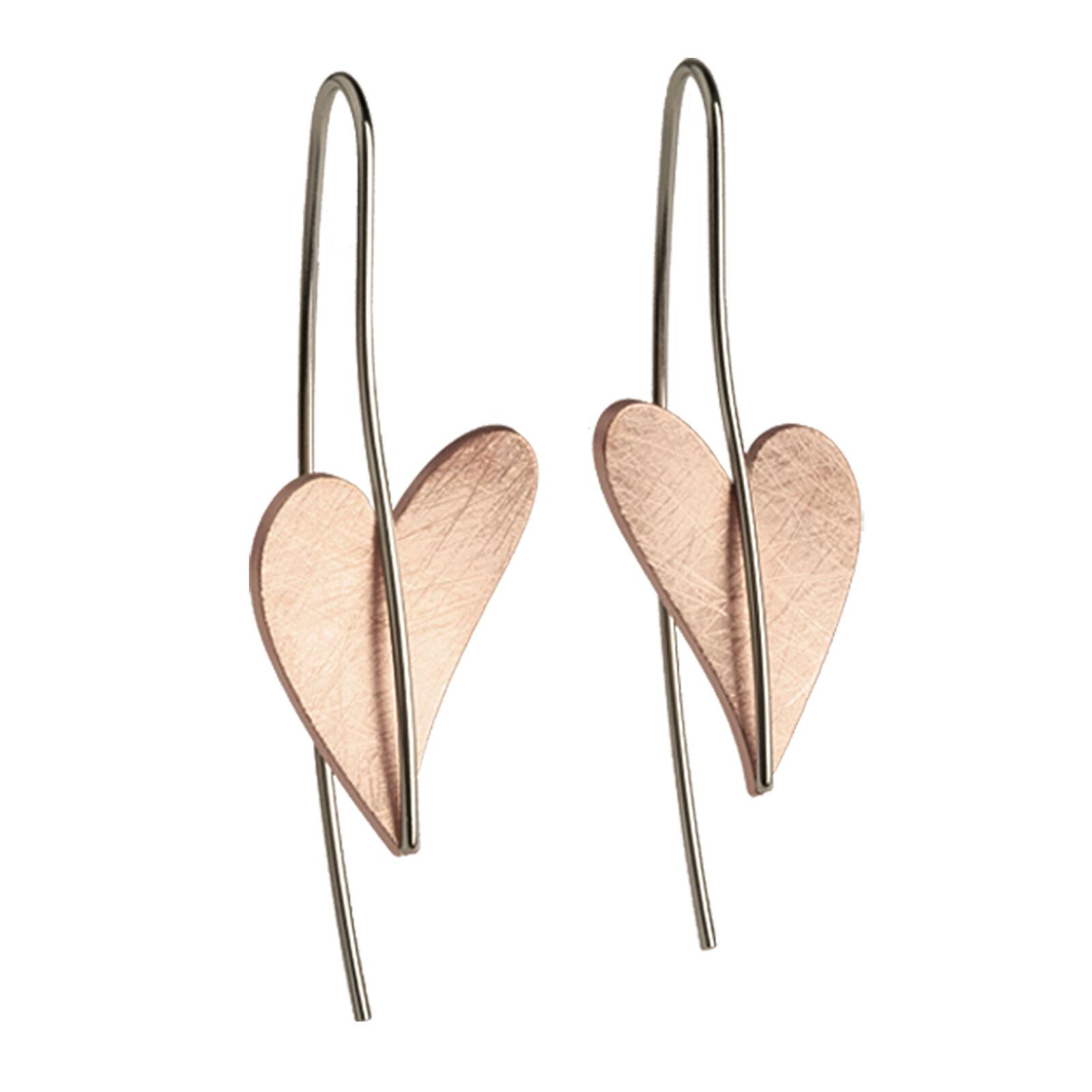 Ernstes Design Earrings E243 Heart Made of Stainless Steel gold Plated Hanger