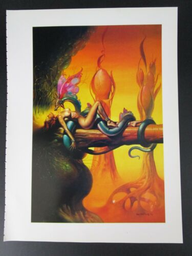 Boris Vallejo Vintage Art Nude Woman Snake GGA 1979 Dragon Wings Fantasy Print