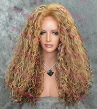 Light Brown & Blonde Mix Long HEAT OK Curly Lace Front Synthetic Wig ABMR 2216