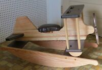Wooden Rocking Airplane Handmade Toddler Homeschool Toy Furniture Solid Oak Wood