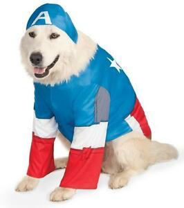 Captain America Marvel Superhero Big Fancy Dress Halloween Pet Dog Cat Costume Ebay Check out our captain marvel costume selection for the very best in unique or custom, handmade pieces from our costumes shops. details about captain america marvel superhero big fancy dress halloween pet dog cat costume