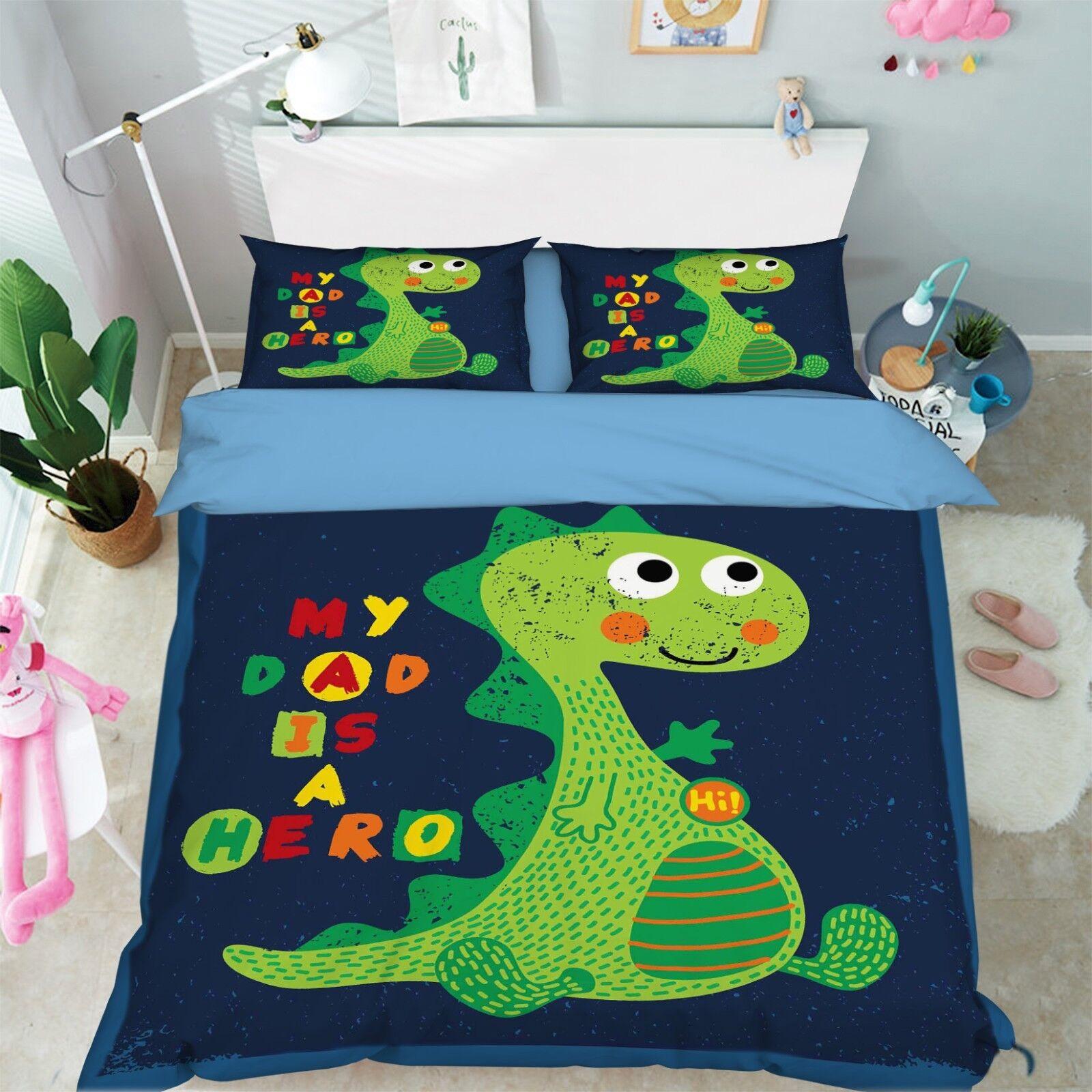 3D Cute Dinosaur Bed Pillowcases Quilt Duvet Cover Set Single Queen King Größe AU