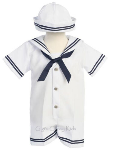 New Baby Boys White Navy Blue Sailor Nautical Romper Outfit 2 Pc Set Hat G250