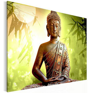 fertig aufgespannt 5003125c buddha feng shui leinwand bild bilder buddha gr n ebay. Black Bedroom Furniture Sets. Home Design Ideas