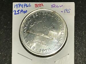 Philippines-1974-25-Pesos-Commemorative-Silver-Coin-BSP-25th-Lot-195
