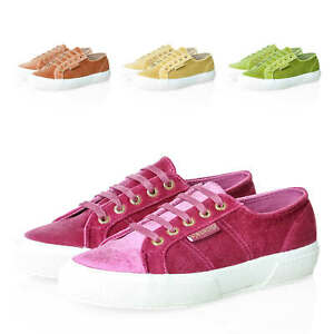 Superga-da-Donna-Velluto-Sneaker-Low-Top-Lacci-Scarpe-Da-Donna-Scarpe-normalissime