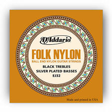 D'ADDARIO EJ32 BLACK / SILVER BALL END FOLK NYLON ACOUSTIC GUITAR STRINGS 2 PACK