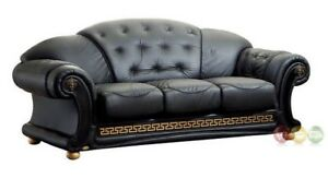 Luxurious Black & Gold Genuine Italian Leather Sofa Button Tufted 3 ...