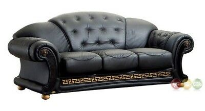 Luxurious Black & Gold Genuine Italian Leather Sofa Button Tufted 3 Seat  Couch | eBay