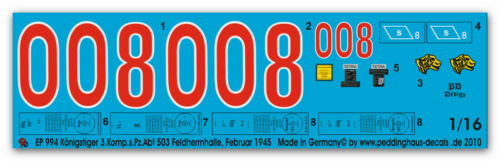 s.Pz Abt 503 994 1//16 Königstiger 2 Komp