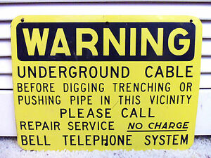 Bell Telephone Sign Vintage Bell System No Charge Repair