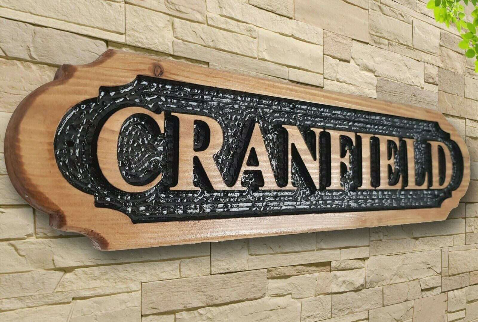 Personalised  Carved  Wooden Oak   Pine Address Sign House Name Outdoor Plaque