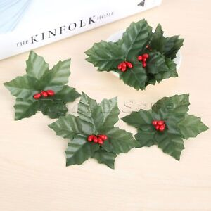 Christmas Flower Decorations.Details About 10pcs Artificial Leaf Mini Holly Berries Decoration Christmas Flower Silk Leaves