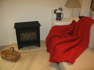 Handmade-unique-designed-chunky-red-crocheted-wool-throw-blanket-142-x-136-cms